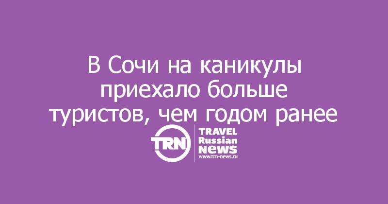 В Сочи на каникулы приехало больше туристов, чем годом ранее