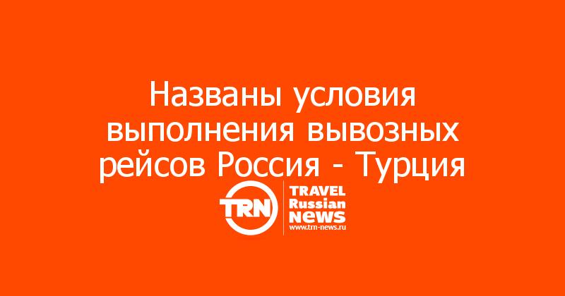 Названы условия выполнения вывозных рейсов Россия - Турция