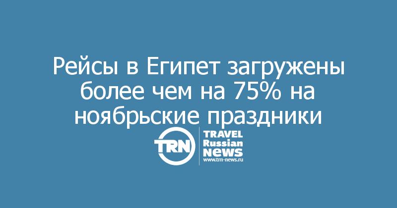 Рейсы в Египет загружены более чем на 75% на ноябрьские праздники