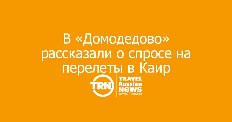 В «Домодедово» рассказали о спросе на перелеты в Каир