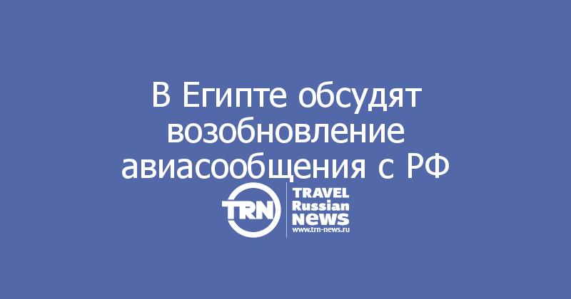 В Египте обсудят возобновление авиасообщения с РФ