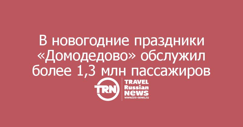 В новогодние праздники «Домодедово» обслужил более 1,3 млн пассажиров